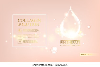 Regenerate face cream and Vitamin complex concept. Shining essence droplet. Vitamin E drop in form of sphere. Beauty skin care design over pink backdrop. Vector illustration.