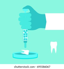 Regenerative medicine concept. Stock vector illustration of a doctor's hand growing a new tooth from stem cells in petri dish.