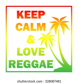 Reggae background with gradient  pulms silhouette and quote. Vector EPS 10