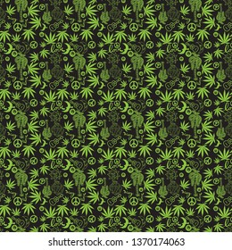 Reggae Cannabis Cartoon style, Green Background, Background Seamless pattern, - Vector