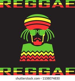Reggae flat icons. mono vector symbol