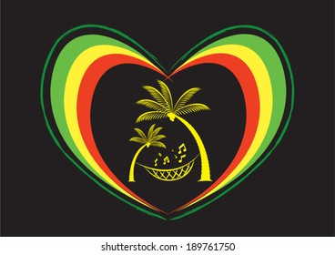 Reggae Heart and Palm Trees with Musical Note. Editable Clip Art.