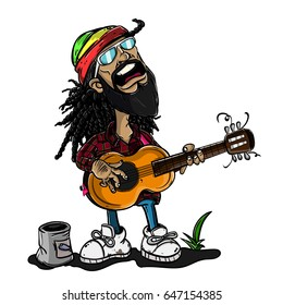 Reggae Man singing with guitar