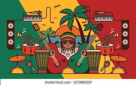 Reggae music beach party background illustration. Reggae music instrument vector illustration. Symbols of Jamaican culture and reggae music. Isolated items of rastafarian lifestyle