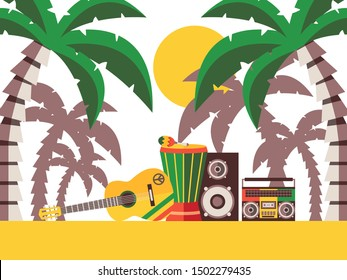 Reggae music beach party, vector illustration. Musical instruments on the sand under palm trees. Guitar and percussion for Jamaican reggae music festival. Summer vacation on island, rastafarian style