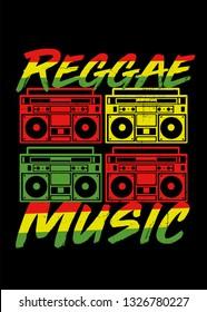 reggae music boombox stereo jamaica roots 80s sound system rasta flag