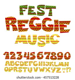reggae music color font. Jamaica style ABC letters with tribal tradition pattern. decorative vector illustration