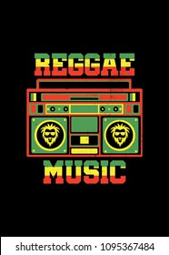 reggae music jamaica boombox poster retro vintage distress colorful