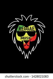 reggae music jamaica cool lion rasta red gold and green flag