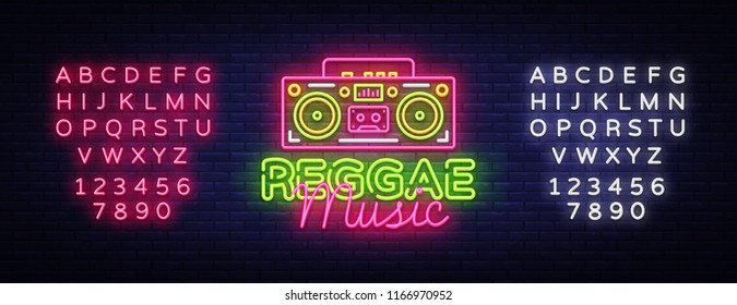 Reggae Music Neon Logo Vector. Reggae neon sign concept, design template, modern trend design, night neon signboard, night bright advertising, light banner, light art. Vector. Editing text neon sign