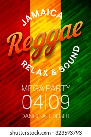Reggae music party poster template. Rastafarian dance club flyer conce