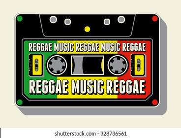 Reggae music poster. Retro vector illustration.