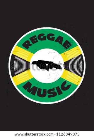 reggae music roots vinyl retro jamaican map flag distressed music poster 4f734d04c723