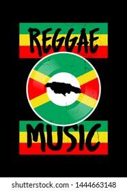 reggae music vinyl vintage jamaica distressed poster