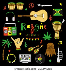 Reggae musical instrument and rastafarian elements collection on black background