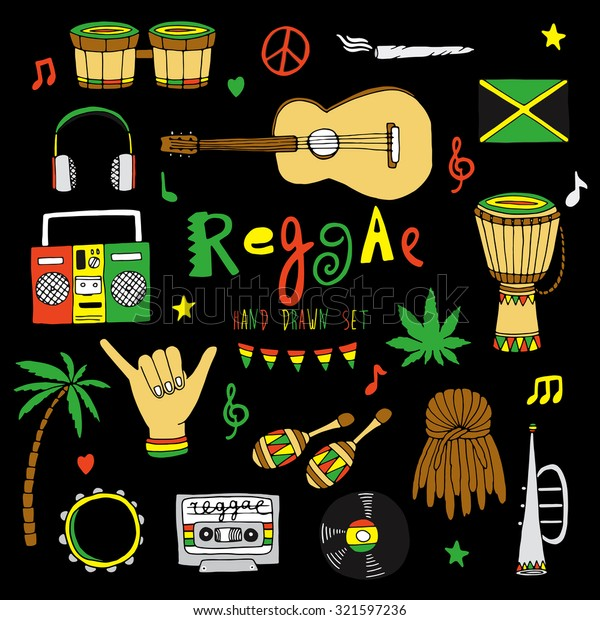 Reggae Musical Instrument Rastafarian Elements Collection Stock