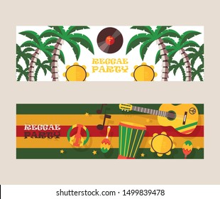 Reggae party invitation, vector illustration. Jamaican style music festival announcement. Colorful flat design banners for reggae event, musical instruments guitar and percussion, palm trees, party
