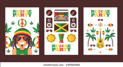 Reggae party invitation, vector illustration. Jamaican style music festival announcement. Simple flat design banner for reggae event, smiling rastaman, icons of rastafarian lifestyle, music party