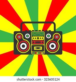 Reggae rastafarian boombox on a striped red yellow green background