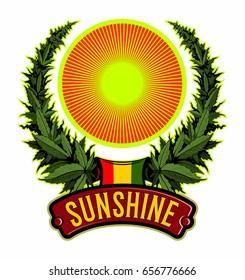 Reggae style logo, cannabis wreath, cannabis leafs with the sunshine, vector image.