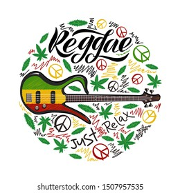 Reggae Vector design with guitar. Vector badges for reggae festival. Vintage music labels with marijuana leaf.