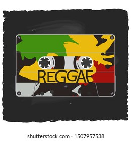 Reggae Vector design .Tape cassette on green yellow red background,reggae background.