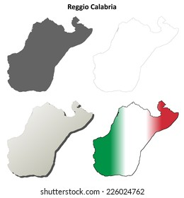 Reggio Calabria blank detailed outline map set