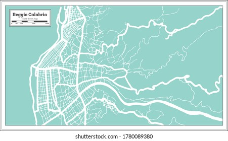 Reggio Calabria Italy City Map in Retro Style. Outline Map. Vector Illustration.