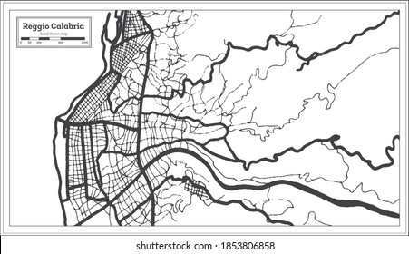 Reggio Calabria Italy City Map in Black and White Color in Retro Style. Outline Map. Vector Illustration.