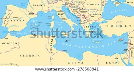 Region Lands Around Mediterranean Sea South Stock Vector (Royalty ...