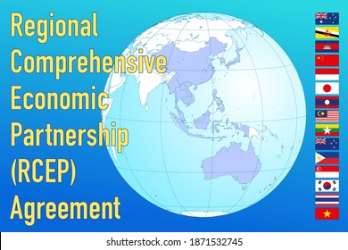 Regional Comprehensive Economic Partnership, RCEP map in the globe with national flags, vector illustration