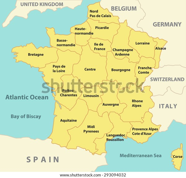Country Map Of France.Regional Map France Neighboring Countries Sea Stock Vector Royalty