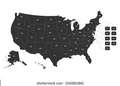 Regional map of USA states with labels vector illustration. Gray background.