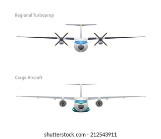 Regional turboprop and cargo aircraft. Vector illustration. EPS10