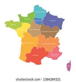Regions of France. Map of regional country administrative divisions. Colorful vector illustration.