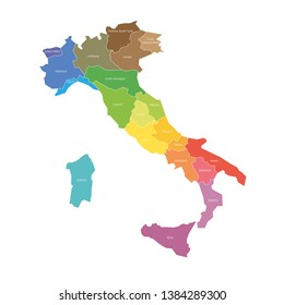 Regions of Italy. Map of regional country administrative divisions. Colorful vector illustration.