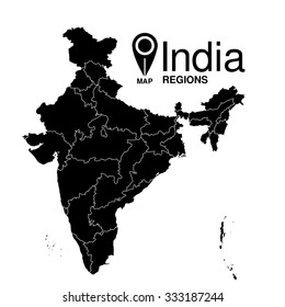 Regions map of India. Republic of India map