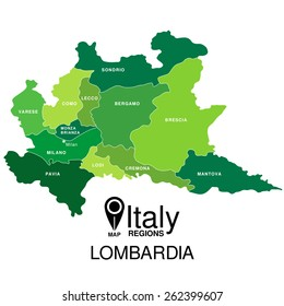 Regions map of Italy. Mappa delle regione Lombardia Expo