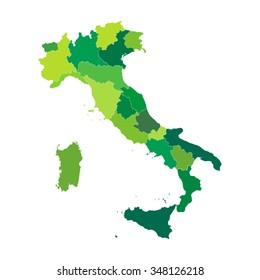 Regions map of Italy. Mappa delle regioni Italia colore