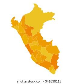 Regions map of Peru location