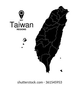 Regions map of Taiwan. Taiwan silhouette map