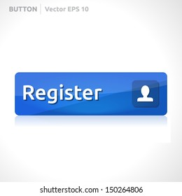 Register button template | vector design | business banner with symbol icon | website element |  blue