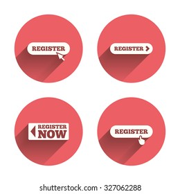 Register with hand pointer icon. Mouse cursor symbol. Membership sign. Pink circles flat buttons with shadow. Vector