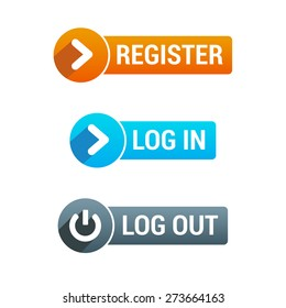 Register, Log In & Log Out Buttons