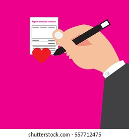 Register a marriage certificate of concept