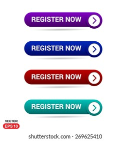 Register Now Buttons. Abstract beautiful text button with icon. Purple Button, Blue Button, Red Button, Green Button, Turquoise button. web design element. Call to action icon button. Banner Set