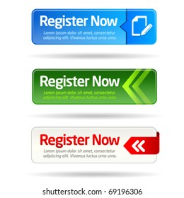 Register now modern minimal button collection