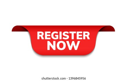 Register now red badge icon. Book button modern red ribbon badge design for registration.