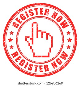 Register now vector stamp