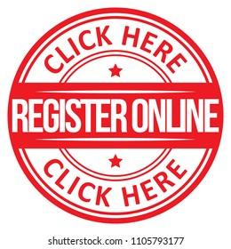 Register Online Icon. Vector Stamp.